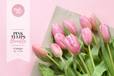 Pink tulips stock photo bundle #9898