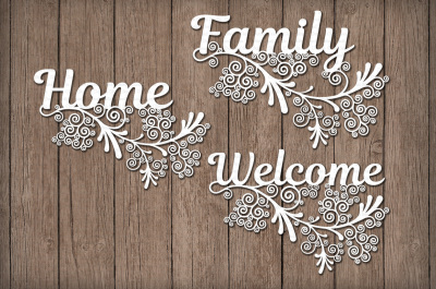 Floral Friezes, Home, Family, Welcome SVG files