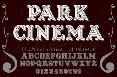 vintage alphabet Typeface handcrafted vector label design park cinema