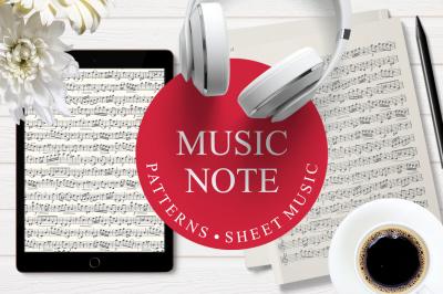 Music note. Seamless pattern. Sheet music. Template. Musical score