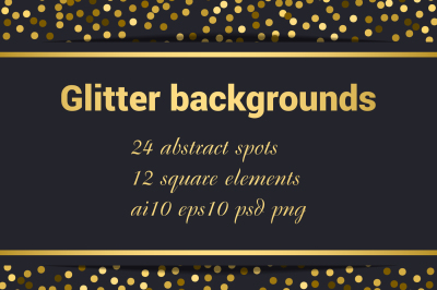 Glitter gold backgrounds set