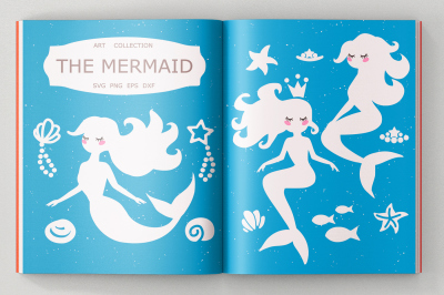 Mermaid svg cut files, Mermaid Clipart
