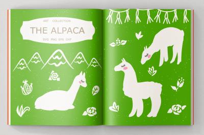 Alpaca svg cut files, clipart, illustration