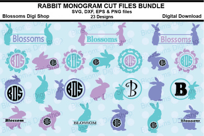 Rabbit Monograms Bundle, SVG, EPS, DXF and EPS files