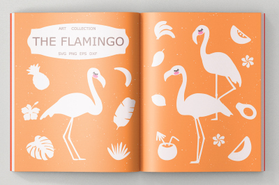 Flamingo svg cut files, clipart, illustration
