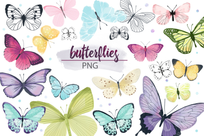 BUTTERFLY  (watercolor elements)