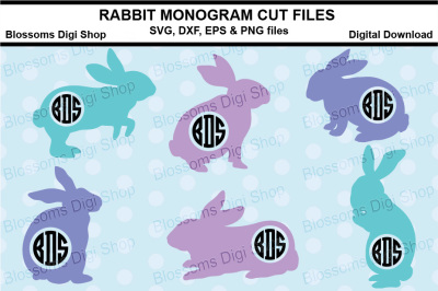 Rabbit Monogram cut files, SVG, EPS, DXF and EPS files