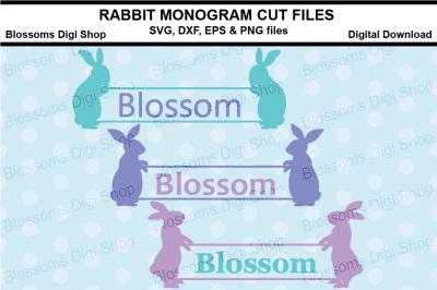 Rabbit Monogram cut files, SVG, DXF, EPS & PNG files