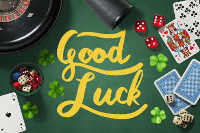 Good Luck - clover top view objects