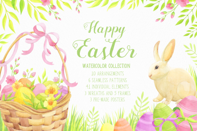 Happy Easter watercolor collection