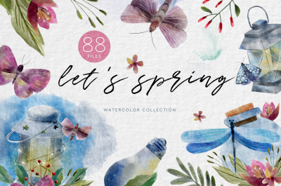 SPRING SINGS. Watercolor collection.