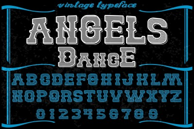 vintage alphabet Typeface handcrafted vector label design angels