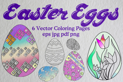 6 Easter Egg Vector Coloring Pages