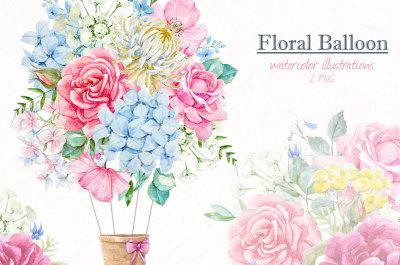 Watercolor floral baloon set (PNG)