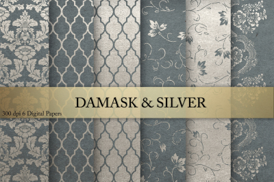 Damask & Silver Digital Paper