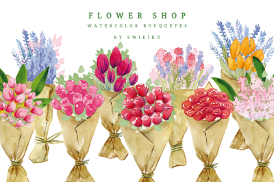 Flower Shop, watercolor bouquets