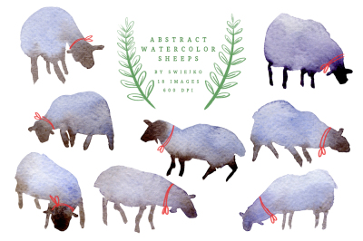 Abstract Watercolor Sheeps, Easter clipart