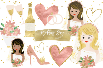 Wedding Clip Art, Bride Bouquet Cake Glitter Graphics, Wedding Planner