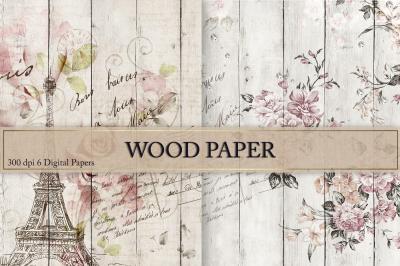 Vintage Flowers Wood Textures
