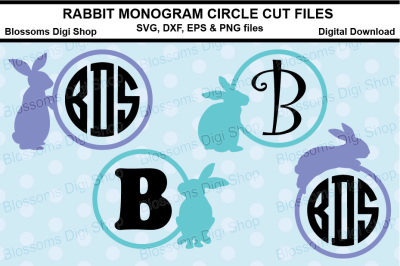 Rabbit Monogram Circle cut files, SVG, DXF, EPS & PNG files