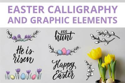 Easter calligraphy and graphic
