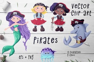 Pirates Set – Vector Clip art