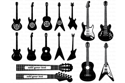 Guitar SVG, Guitar Monogram svg files for Silhouette Cameo and Cricut