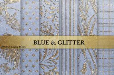 Glitter & Blue Digital Paper