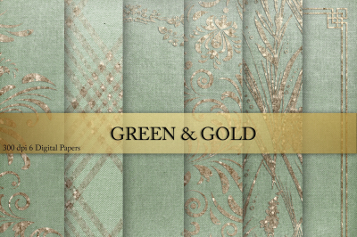 Gold & Green Digital Paper