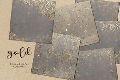 Gold & Grey Digital Paper