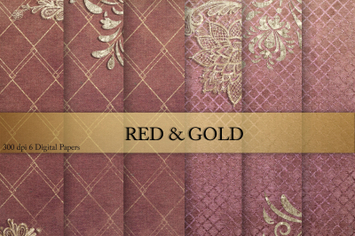 Gold & Red & Digital Paper