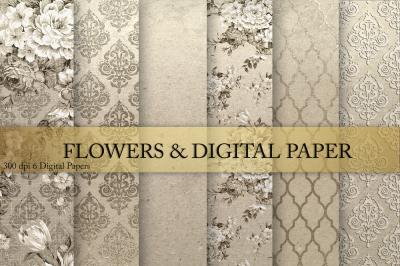 Flowers & Gold Digital Paper
