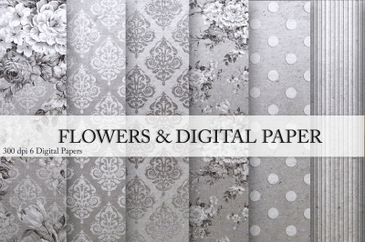 Silver & Flowers Digital Paper