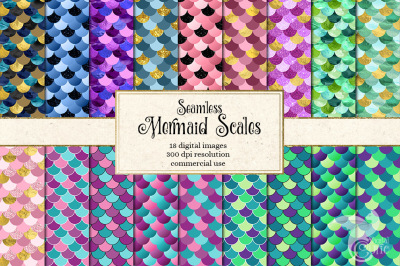 Seamless Mermaid Scale Patterns