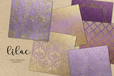 Gold & Lilac Digital Paper