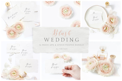 Blush wedding mockups & stock photo bundle
