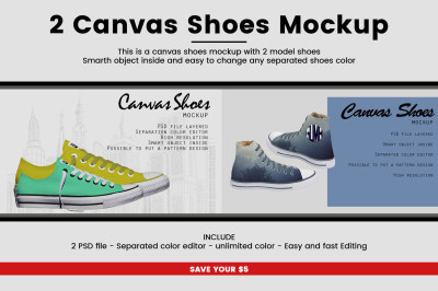 2 Canvas Shoes Mockup