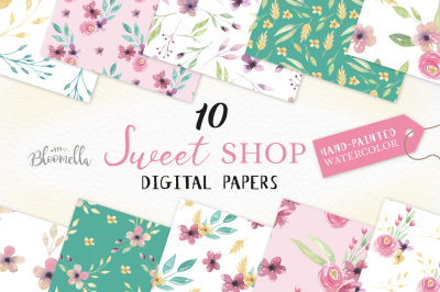 Sweet Floral Digital Papers Watercolor Pink Purple Seamless Patterns