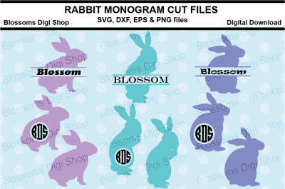 Rabbit Monogram cut files, SVG, DXF, EPS & PNG files