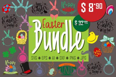 Easter Svg Bundle Svg, Easter monogram frames svg, Easter quotes Eggs