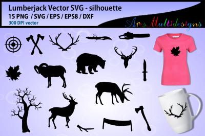 lumberjack SVG silhouette vector / lumberjack clipart / EPS / PNG