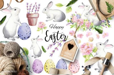 Happy Easter! Watercolor set