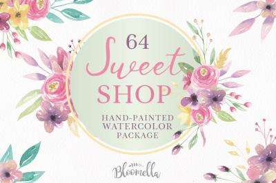 Sweet Pink Floral Clipart HUGE Package Pink Purple Flowers