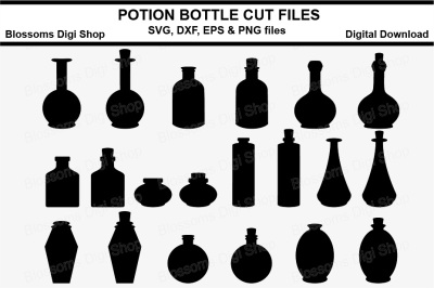 Potion Bottle Silhouettes, SVG, DXF, EPS and PNG cut files