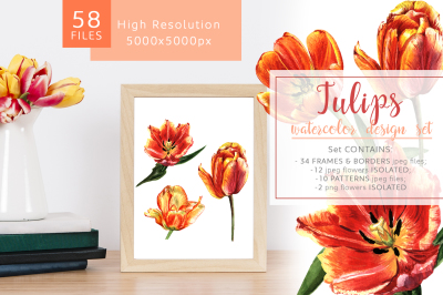 Fire tulips PNG watercolor set