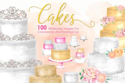 100 Illustrations HUGE Cake Bundle Gold Cake Wedding Cake Pastry