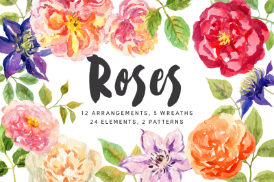 Roses. Watercolor collection