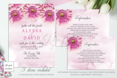 Pink Daisies Floral Wedding Invitation Template