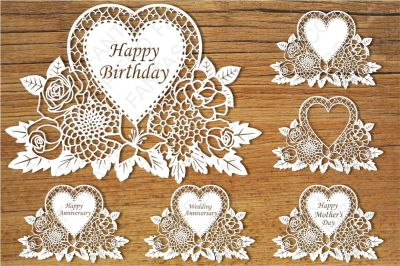 Floral Happy Birthday, Wedding Anniversary, Happy Mother Day SVG