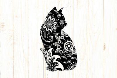Mandala Cat SVG DXF PNG EPS AI